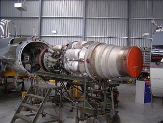 Rolls-Royce Avon - A Mark 122 – The rear fuselage of the Hawker Hunter can be removed for engine maintenance