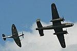 B-25 Mitchell & Spitfire IX formation - Volkel 2013 (9152692203).jpg