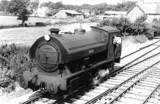 """W.G Bagnall 0-6-0ST """"New Standard 18"""" - Vulcan at Bishops Lydeard in 1980"""