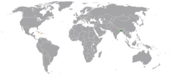 Map indicating locations of Bangladesh and Haiti