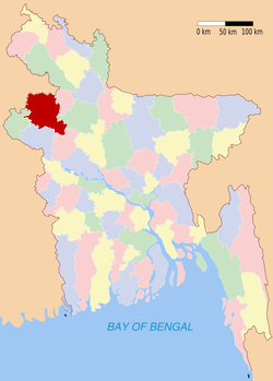 Location of Naogaon in Bangladesh