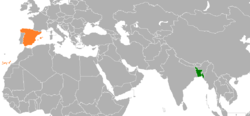 Map indicating locations of Bangladesh and Spain