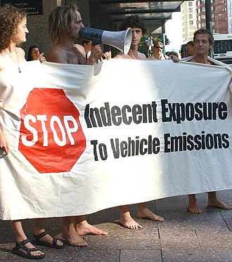 Indecent exposure - Protesters gathered outside a courthouse to protest against the arrest of Simon Oosterman (second from left), Auckland's 13 Feb 2005 WNBR organizer.