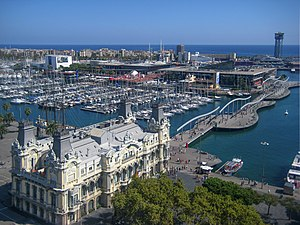 Barcelona, view of the Rambla de Mar from Columbus monument.jpg