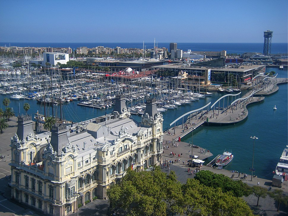 Barcelona, view of the Rambla de Mar from Columbus monument