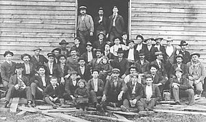 English: Early employees of Bassett Furniture Company, Bassett, Virginia, circa 1900..