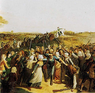 Battle of Tiffauges - Battle of Torfou: the women of Tiffauges block the path of the Vendéens fleeing at the sight of the troops from Mainz led by Kléber, painting by Alfred de Chasteignier.
