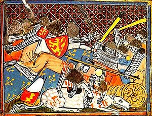 History of Belgium - 14th-century illustration of the Battle of the Golden Spurs in 1302 where forces from the County of Flanders defeated their nominal overlords of the Kingdom of France.