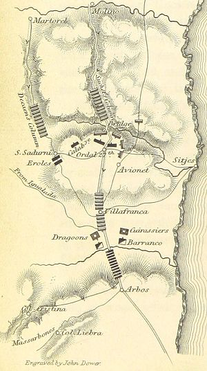 Battle of Ordal - A map of the Battle of Ordal