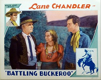 Lafe McKee - Lobby card for Battling Buckaroo (1932) with Lafe McKee, Doris Hill, and Lane Chandler.
