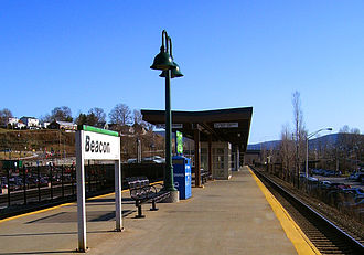 Beacon (Metro-North station) - View south down the island platform