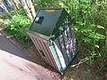 Bear-resistant trash can at the Aspen Institute.JPG