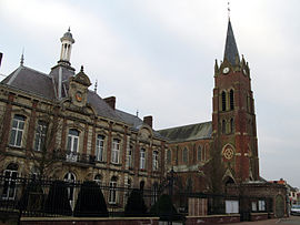 The town hall and church of Beaucamps-le-Vieux