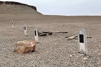 John Hartnell - Graves of the expedition's first three fatal casualties. Hartnell's is the second from the right. The fourth grave is that of Thomas Morgan, a sailor who died in 1854 on one of the many subsequent fact-finding expeditions.