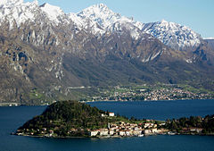 Lake Como - Panoramic view of Lake Como with Grigna Mountains and Bellagio