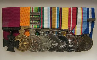 Ben Roberts-Smith - Medals on display at the Australian War Memorial. (Note that this display does not include his full entitlement.)