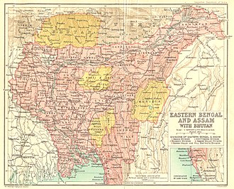 Eastern Bengal and Assam - Eastern Bengal and Assam in 1907, bordered by British Indian Bengal and Bihar, Nepal, Bhutan, British Burma and Tibet