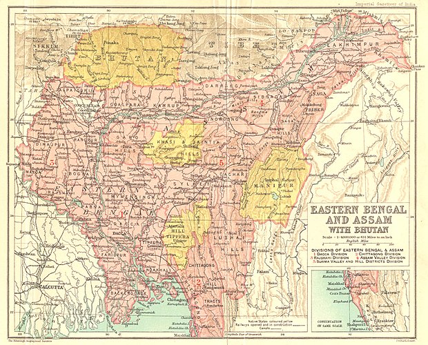 Map of Eastern Bengal and Assam during 1907-1909 Bengal gazetteer 1907-9.jpg