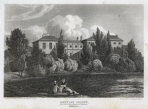 Bentley Priory - A print by an  unknown artist of Bentley Priory House, Stanmore, England c1800.