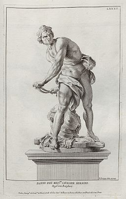 Bernini's David in an engraving by Nicolas Dorigny 1704.jpg