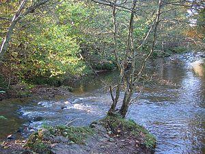 River Tyne, Scotland - Image: Birns Water Humbie Water Confluence