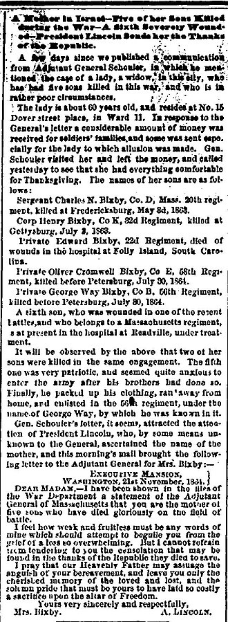 Bixby letter - The Bixby letter first appeared in this Boston Evening Traveller article