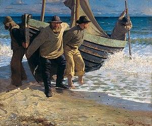 Oscar Björck - Oscar Björck, Launching the Boat. Skagen (1885)
