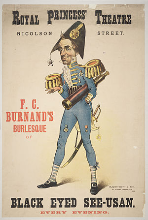 F. C. Burnand - Theatre poster for Burnard's Black Eyed See-Usan