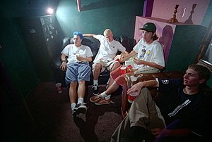 Scott Raynor - Blink-182 backstage with friend and collaborator Cam Jones in 1995.