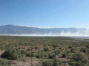 English: Blowing Alkali Dust at Owens Lake