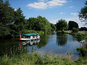 English: Boating on the River Stour on August ...