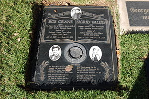 "Bob Crane - Crane's and Valdis's gravestone, bearing the banner, ""Hogan and Hilda, Together Forever"""
