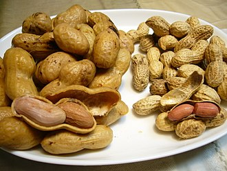 Boiled peanuts - Boiled peanuts (prepared in Japan), left; roasted peanuts, right