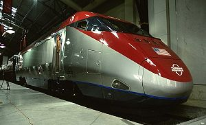 Gas turbine train - Bombardier's experimental JetTrain locomotive toured North America in an early-2000s attempt to raise the technology's public profile.