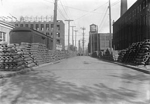 Liberty Village - Bombs stored on Liberty Street, looking east from Dufferin Street, 1915