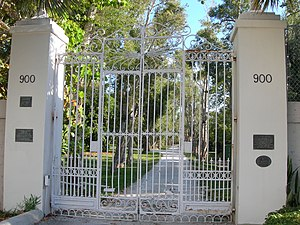National Register of Historic Places listings in Broward County, Florida - Image: Bonnet house gate