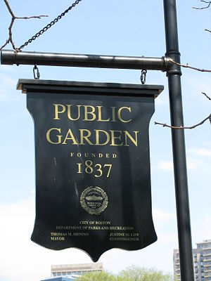 Entrance sign to the Boston Public Gardens