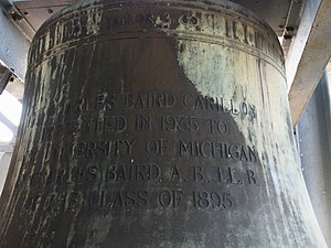 John Taylor & Co - Inscription on the Bourdon bell of the Baird Carillon at the University of Michigan