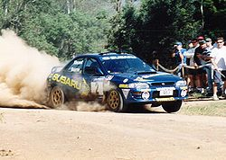 Possum Bourne (Subaru Impreza WRX) Rally Queenslandissa vuonna 1998.