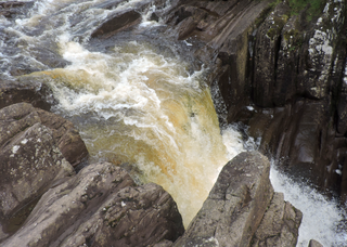 Bracklinn Falls waterfall in Stirling, Scotland, UK