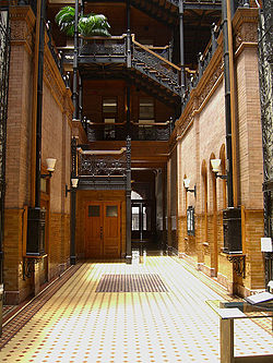 The iron-wrought interior of the Bradbury Building located on Broadway and 3rd St.
