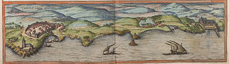 Cascais - A 1572 sketch of the coastal profile of Cascais