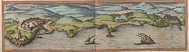 A 1572 sketch of the coast of Cascais. Braun Cascais UBHD.jpg