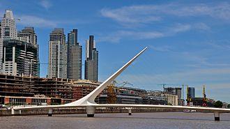 Cantilever spar cable-stayed bridge - Puente de la Mujer, Puerto Madero (Argentina).