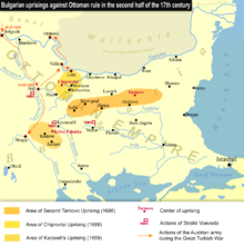 Map of the 17th century anti-Ottoman uprisings