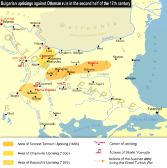 Karposh's rebellion - Karposh's Uprising, Second Tarnovo Uprising and Chiprovtsi Uprising.