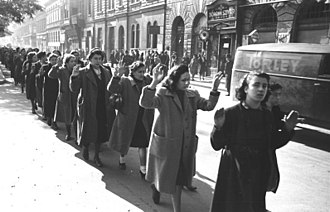Oswald Pohl - Budapest, Hungary – Column of Jewish women arrested in Wesselényi Street, 20–22 October 1944