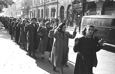 Jewish women being arrested on Wesselenyi Street in Budapest during The Holocaust, ca. 20-22 October 1944 Bundesarchiv Bild 101I-680-8285A-08, Budapest, Festnahme von Juden.jpg