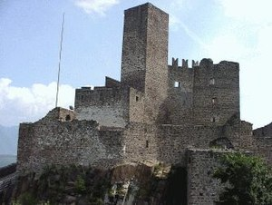 Bergfried - The bergfried in the centre of the site dominates the silhouette of Hocheppan in South Tyrol, Italy