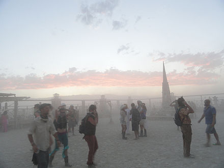 Dust storms are common at Burning Man, so many come prepared with appropriate provisions, such as goggles and masks to reduce dust inhalation. Burning Man 2012 (7942014474).jpg